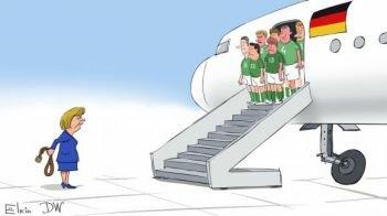 كاريكاتور : هكذا أستقبلت #ميركل لاعبي المنشافت