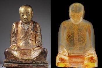 الأشعة المقطعية تكشف عن راهب محنط داخل تمثال